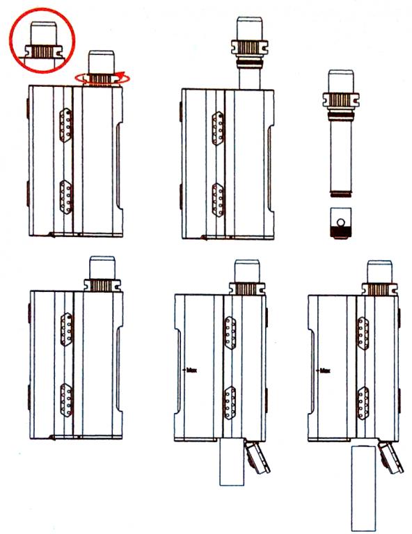 Инструкция для бокс-мода Kanger Cupti 2.Установка испарителя CLOCC/базы CLRBA