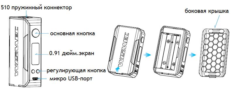 Инструкция для бокс-мода Wismec Sinuous V200
