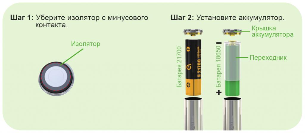 Установка аккумулятора iJust 21700