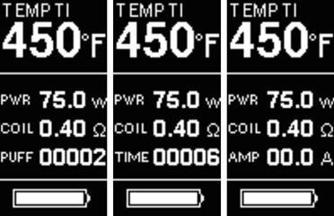 Инструкция для бокс-мода Joyetech eVic VTC Mini 75W.Переключение между AMP (текущий ток в Амперах), PUFF (количество затяжек) и TIME (общее время парения)