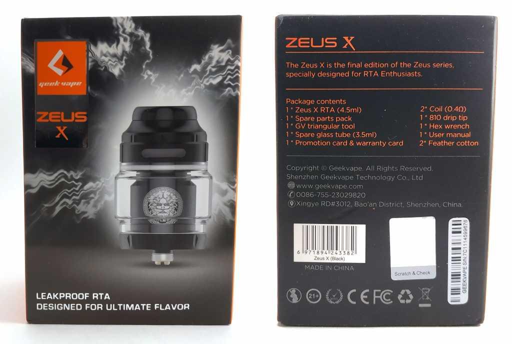 Упаковка Zeus X RTA