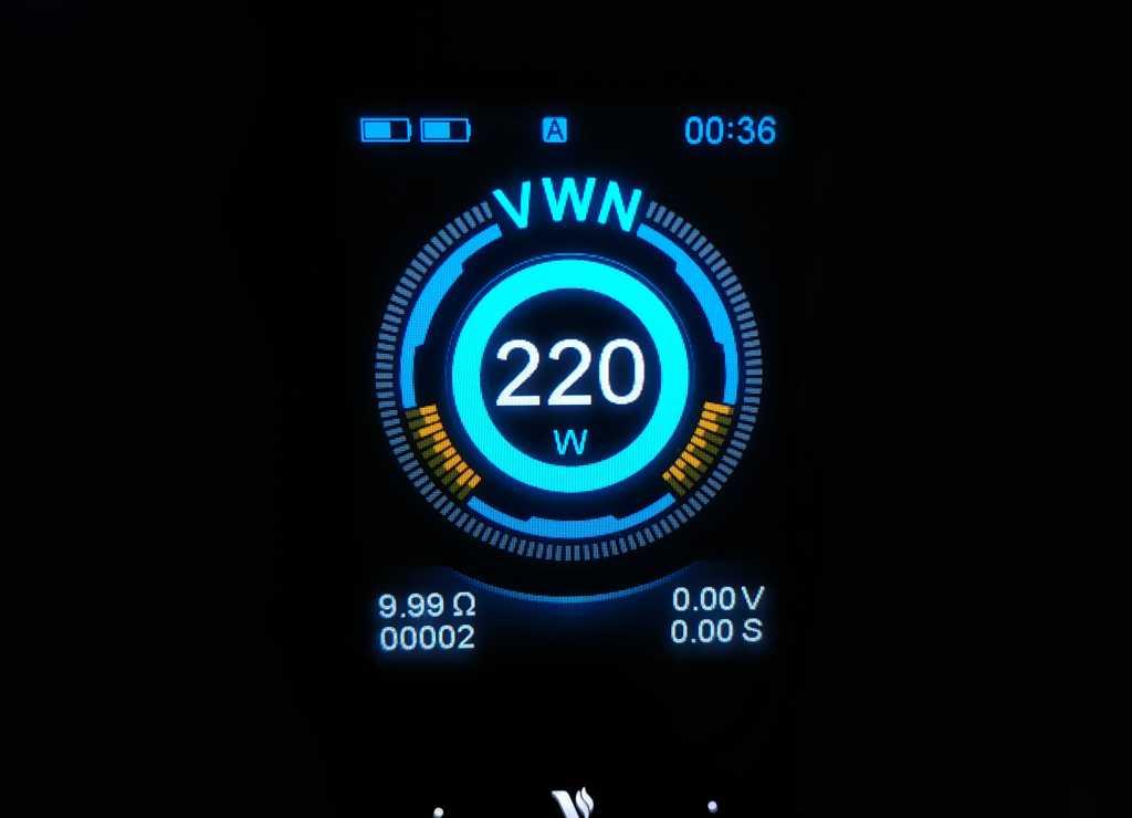 Главное меню Vaporesso Luxe 220W