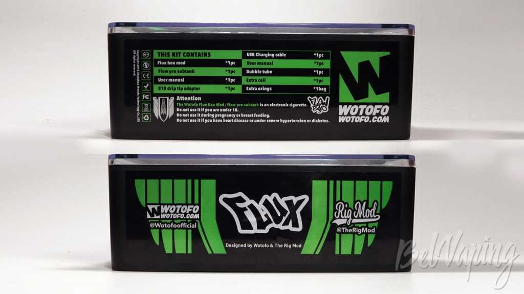 Обзор набора FLUX Mod и FLOW PRO Subtank от Wotofo.Упаковка FLUX KIT