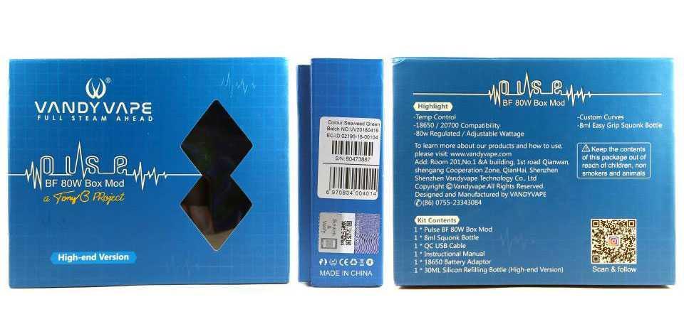 Обзор Vandy Vape Pulse 80W.Упаковка и комплектация