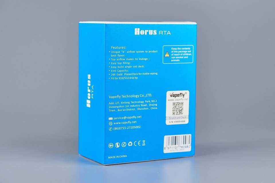 Обзор Vapefly Horus RTA.Упаковка и комплектация