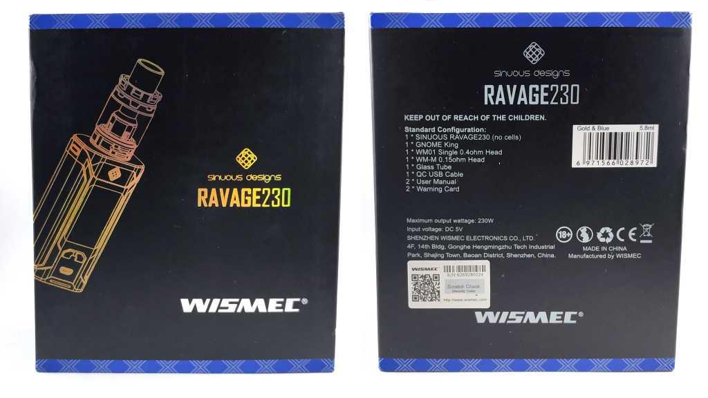 Обзор бокс-мода Wismec Sinuous Ravage 230W с баком Gnome King.Комплектация