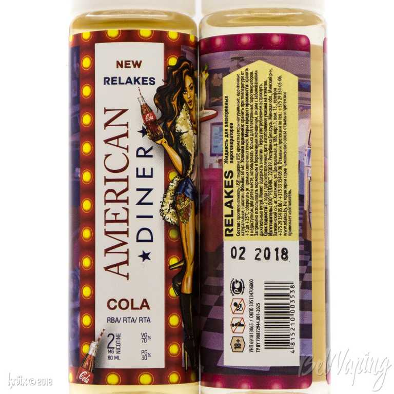 Обзор жидкости American Diner от Relakes.Тара и этикетка